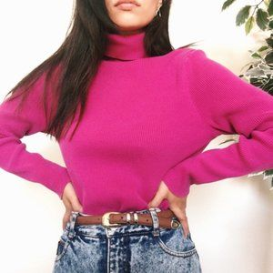 100% Cashmere Lord & Taylor Hot Pink Turtleneck Sweater Cozy Winter Loungewear